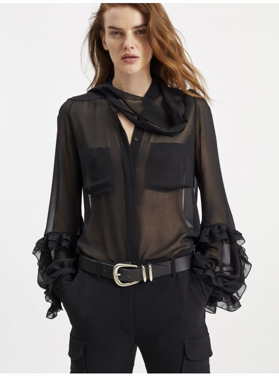 Georgette pussy-bow blouse