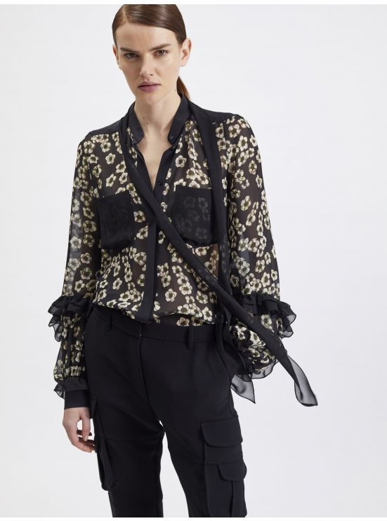 Printed-georgette pussy-bow blouse