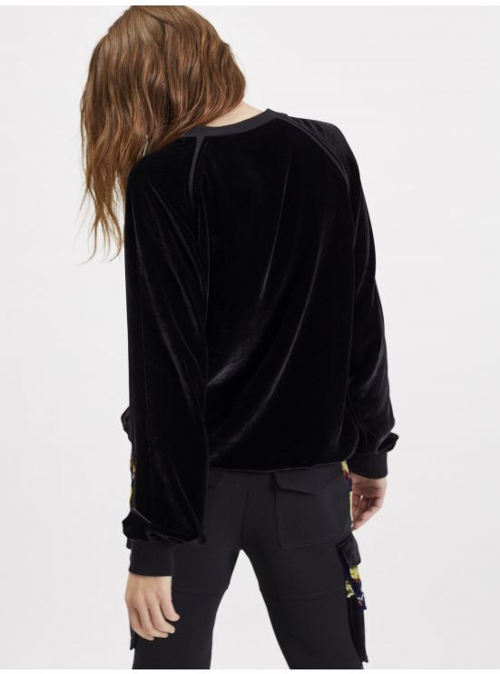 Multi-colored velvet-paneled sweatshirt