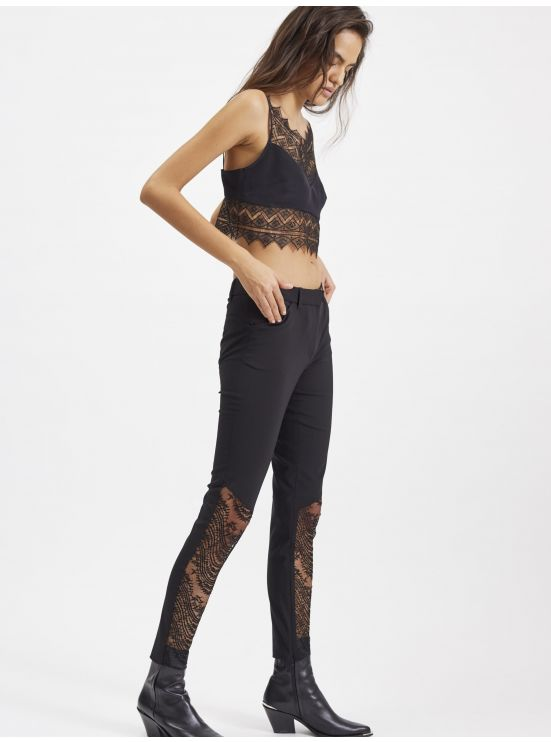Wool and lace skinny trousers