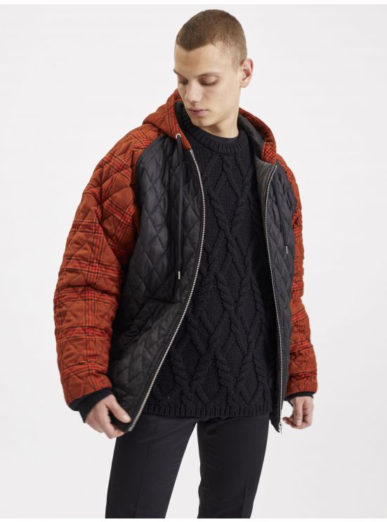 Wool quilted hooded jacket