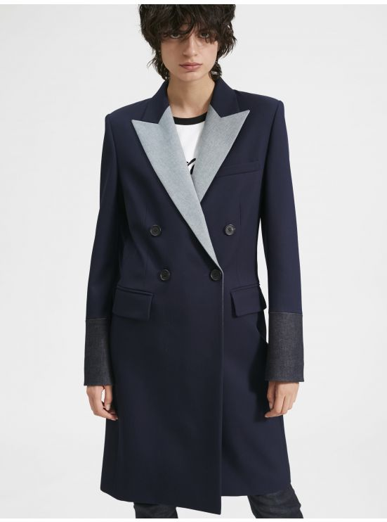 Wool and denim topcoat