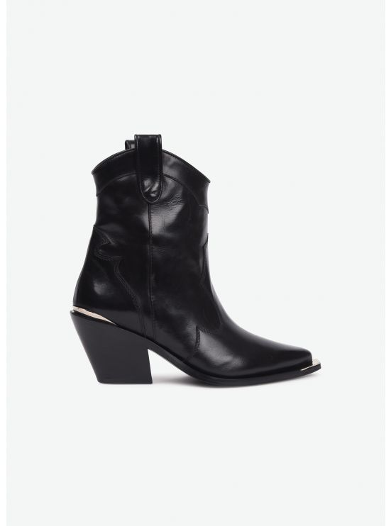 Shiny calf ankle boots