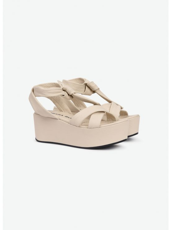 Grained calf platform sandals