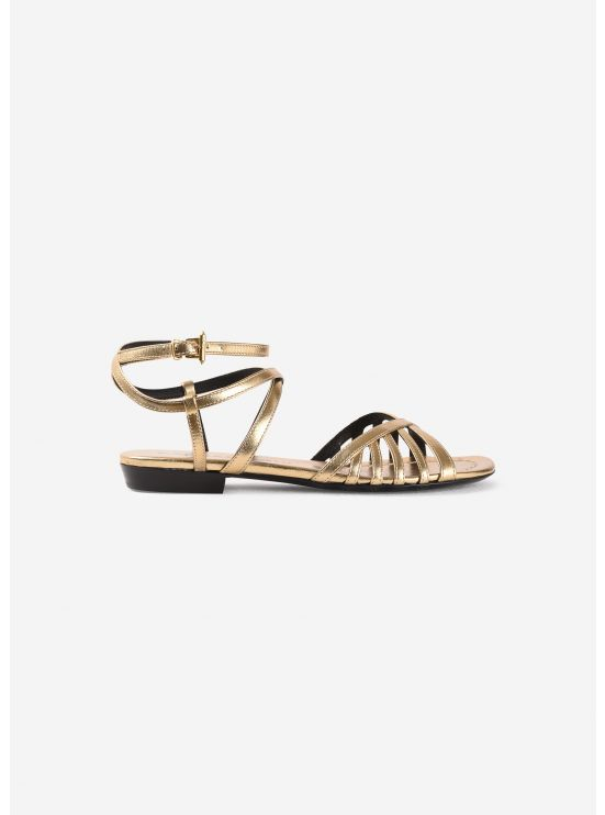 Flat sandals in metallic leather