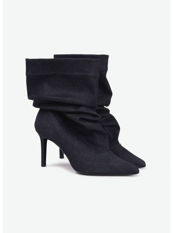 Supple denim booties