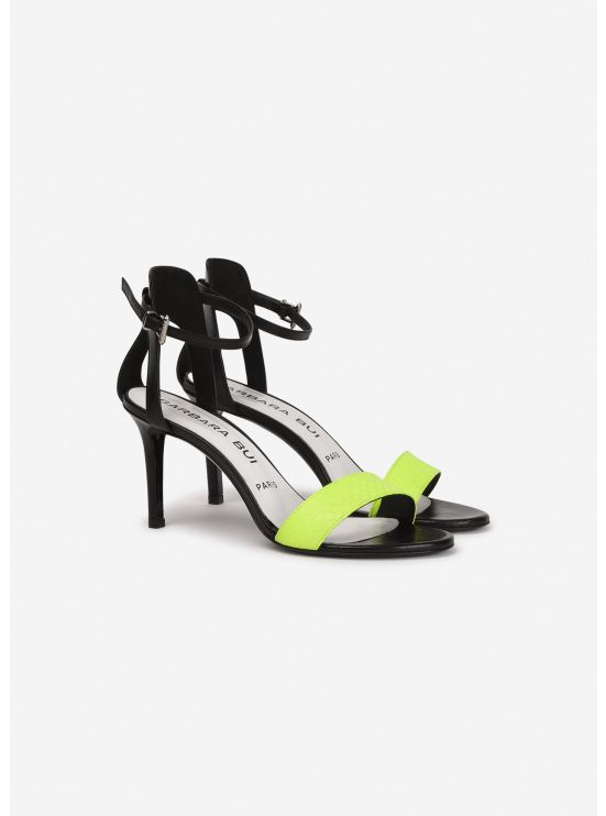 Leather and neon watersnake sandals