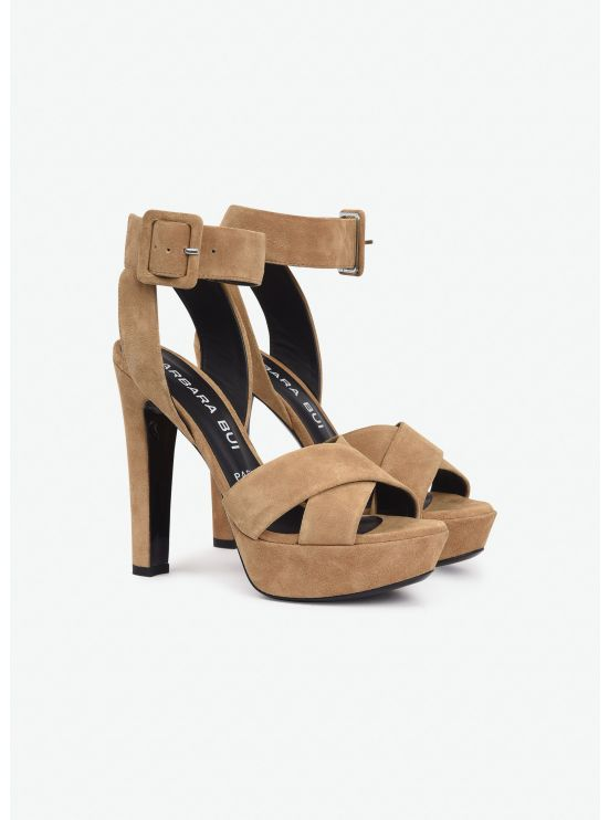 High heel suede sandals