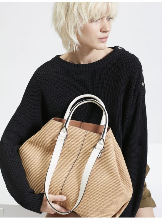 Boyfriend tote bag in raffia and leather