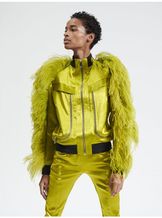 Teddy jacket with feathers