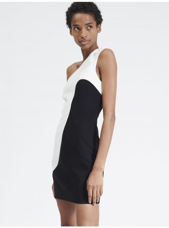 Contrasted asymmetrical dress