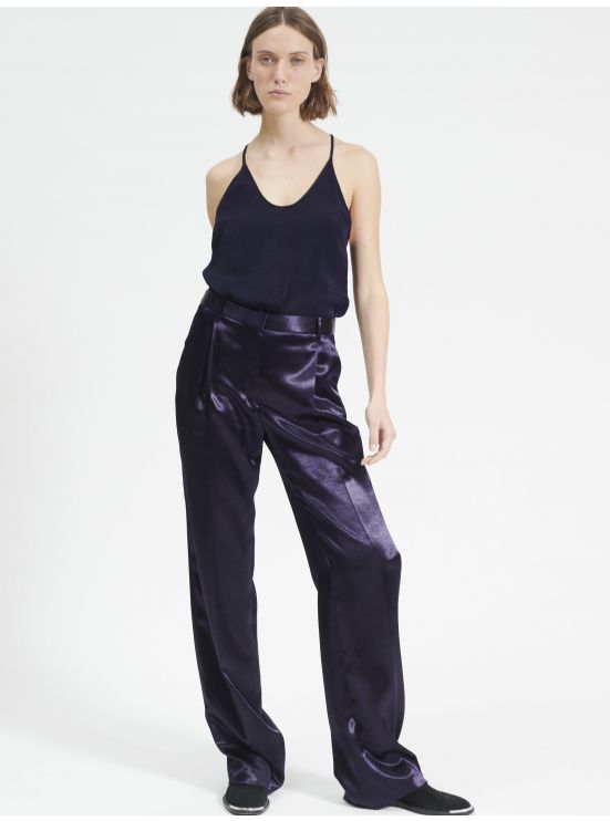 Wide legs satin trousers