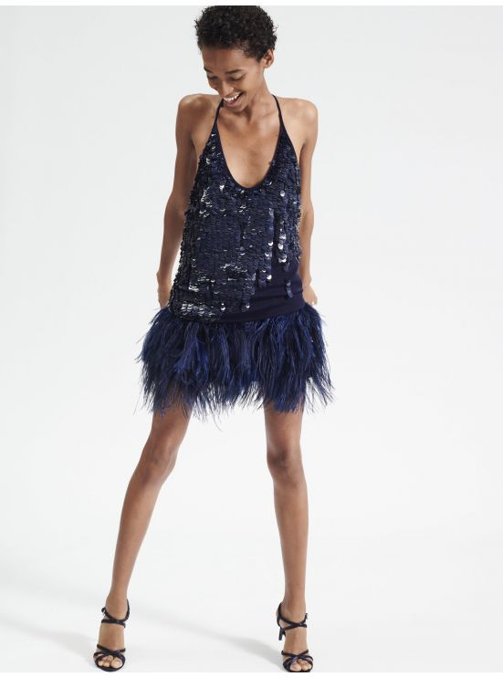 Shorts with ostrich feathers