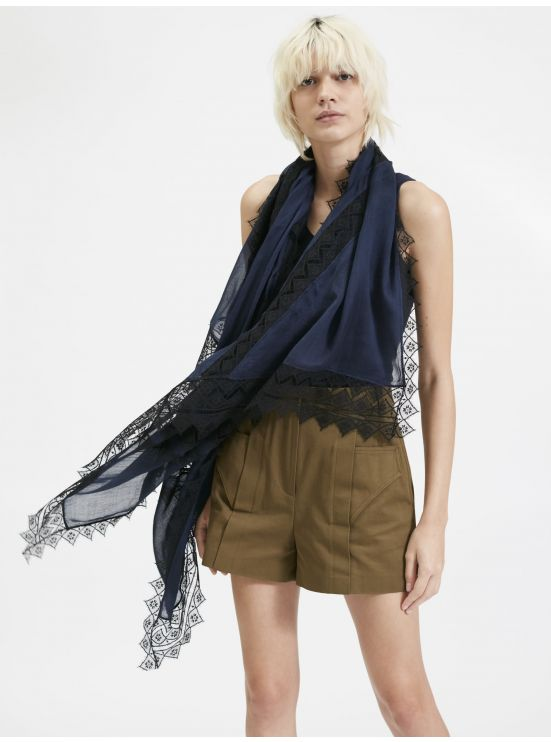 Lace and pleated crepe scarf
