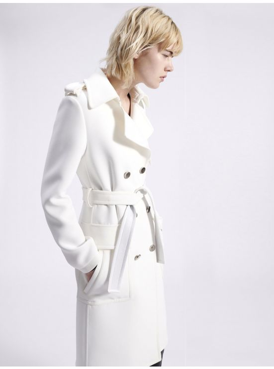 Belted double crepe trench coat