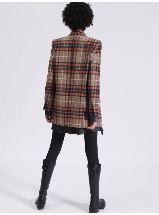 Veste longue en tartan orange
