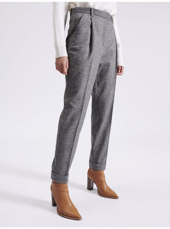 7/8 tweed dart trousers