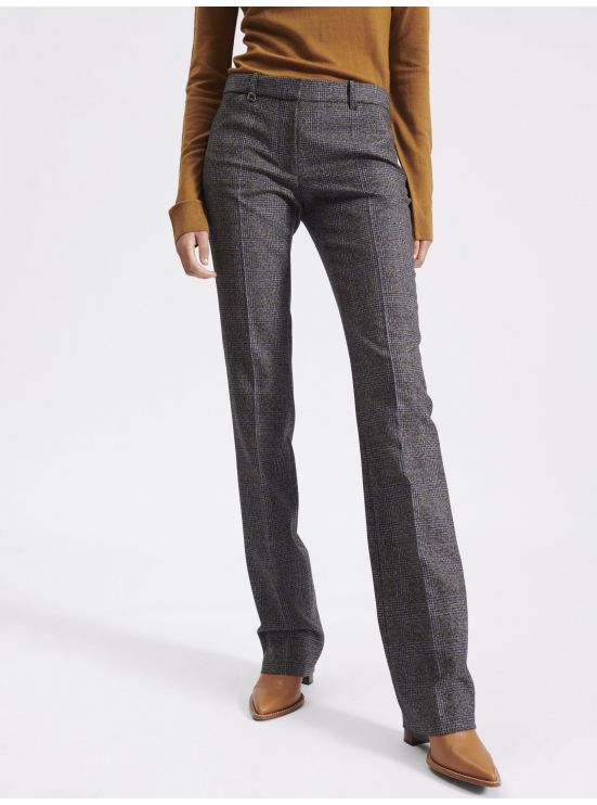 Tailored wool Prince of Wales trousers