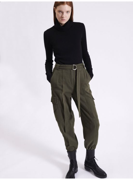Cotton cashmere gabardine battle trousers