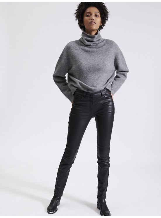 Skinny stretch leather trousers