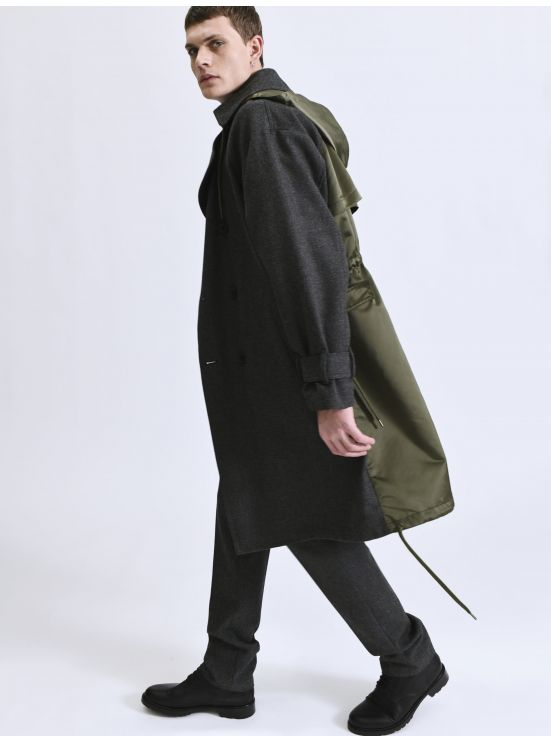 Bi-material hooded trench