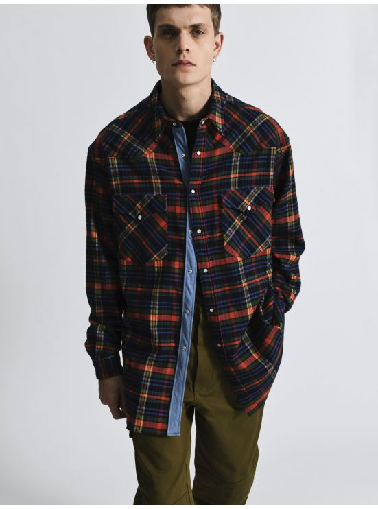 Checkered cotton overshirt