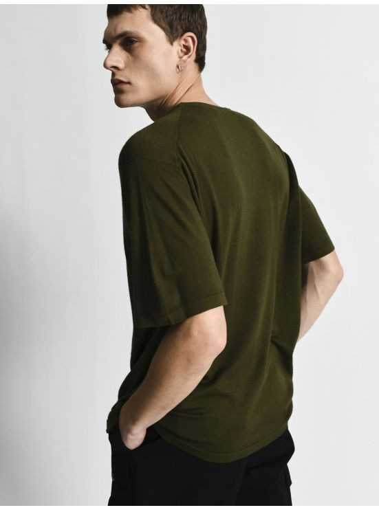 Short sleeve merino wool tee-shirt