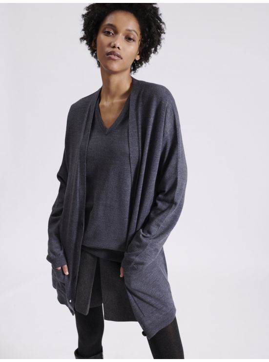 Long merino wool cardigan