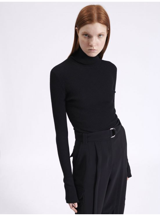 Ribbed kinit turtleneck sweater
