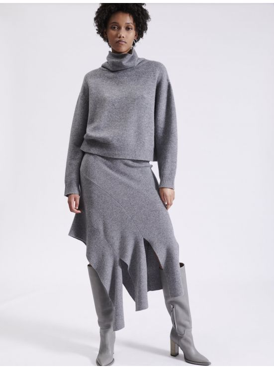 Asymmetrical skirt in wool and cashmere