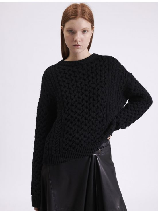 Cable knit merino wool jumper