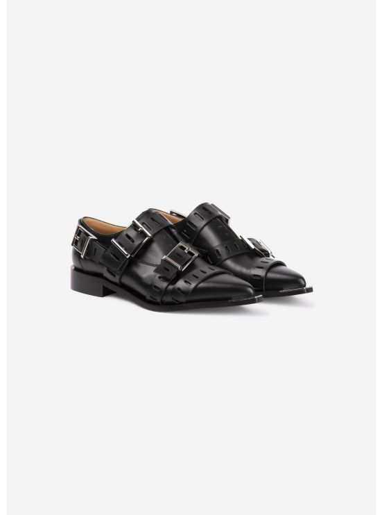 Derbies multiboucles en cuir