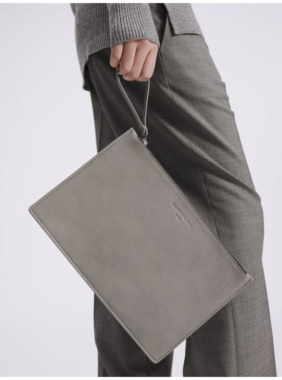 Grained leather clutch