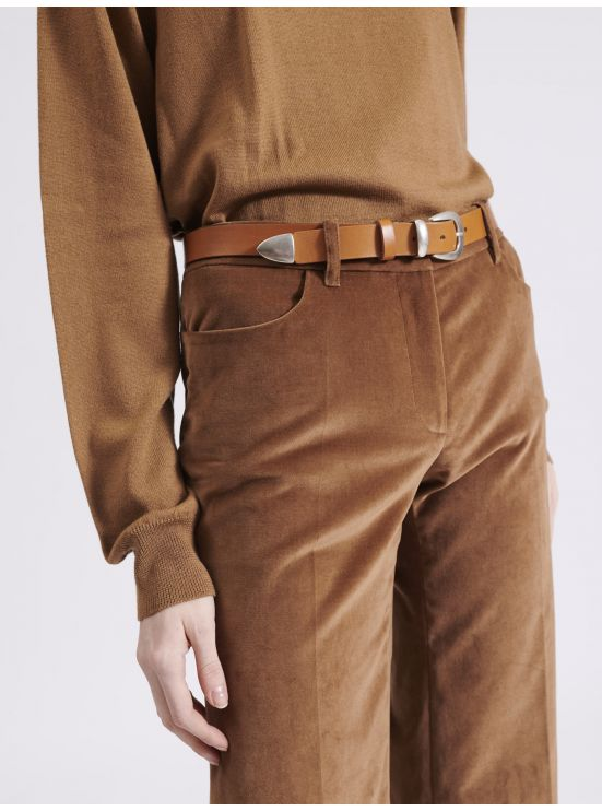 Camel thin leather belt