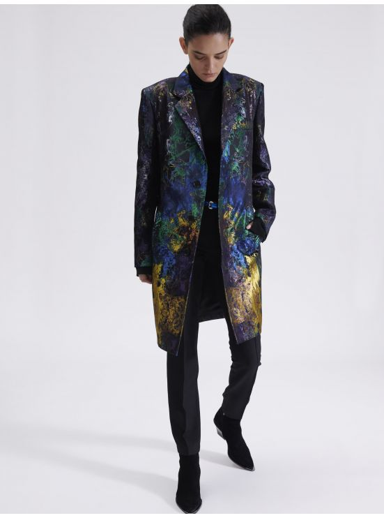 Multi-coloured jacquard overcoat