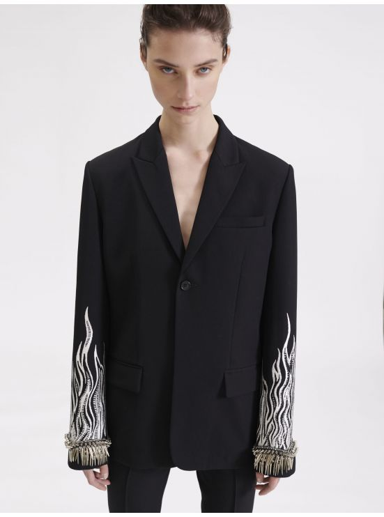 Embroidered Grain de Poudre masculine jacket