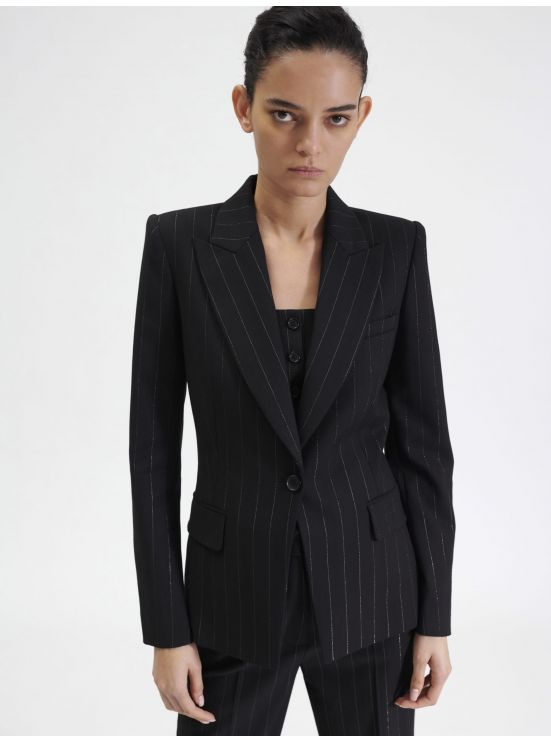 Tailored striped Lurex jacket