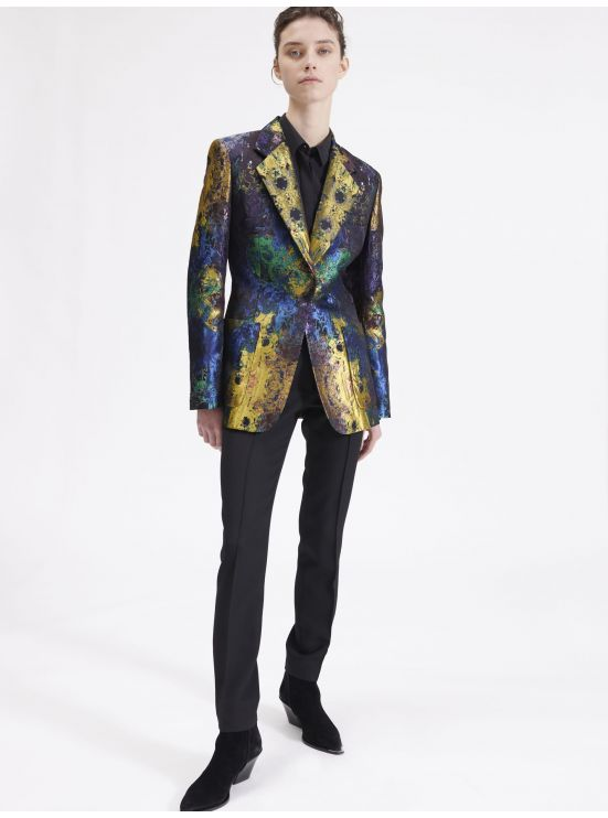 Multi-coloured tailored jacquard jacket