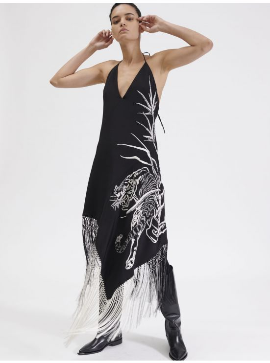 Silk scarf dress with Chimere embroidery