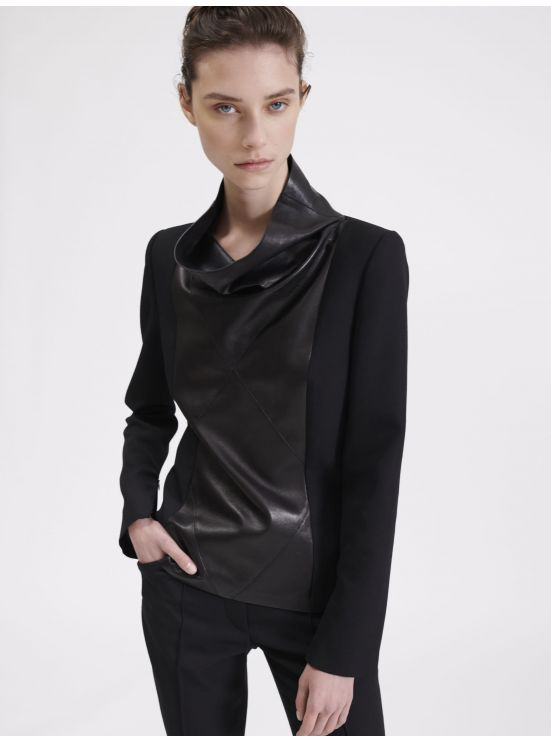 Leather and Grain de Poudre top
