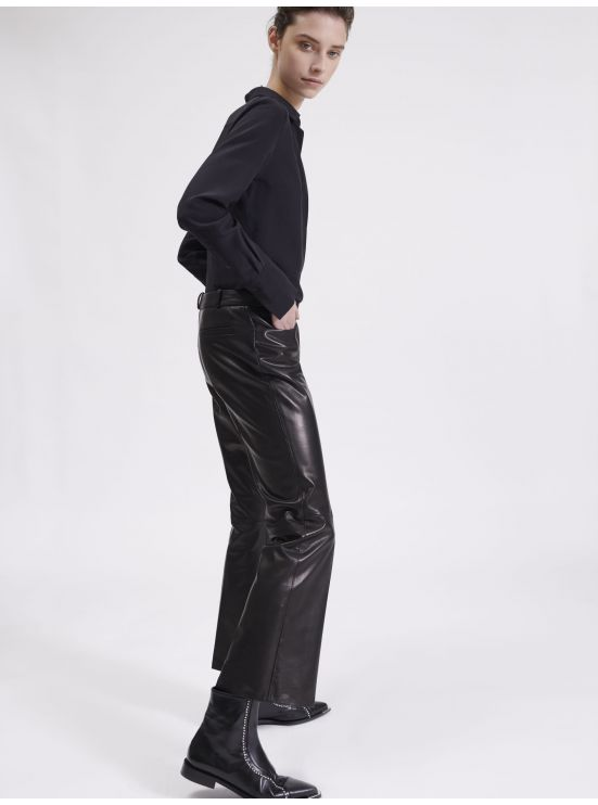 7/8 leather flare trousers