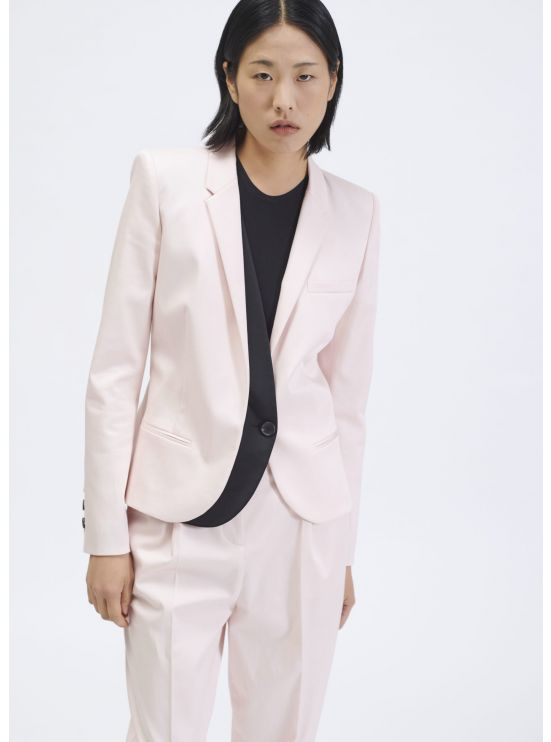 Crepe jacket with trompe-l'oeil satin panel