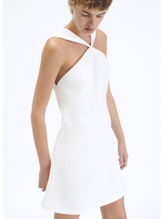 A-line dress with crepe panels