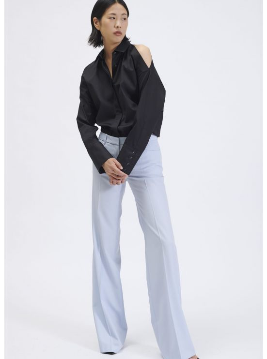 Shoulderless cotton poplin shirt
