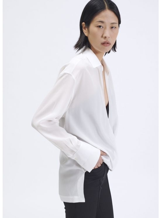 Crepe de chine wrap shirt