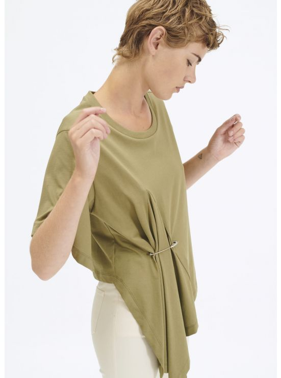 Draped cotton jersey t-shirt