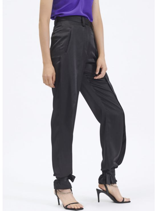 Silk tailored trousers with ties