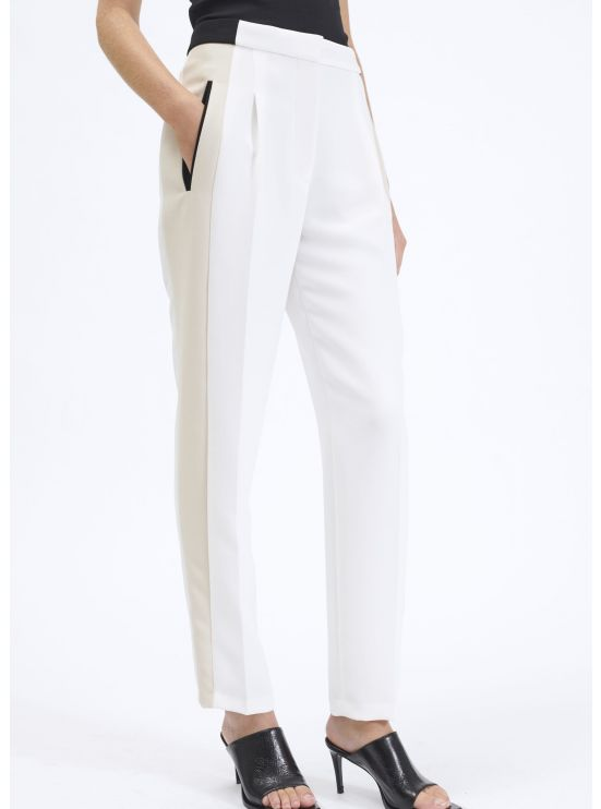 Tricolor crepe dart trousers