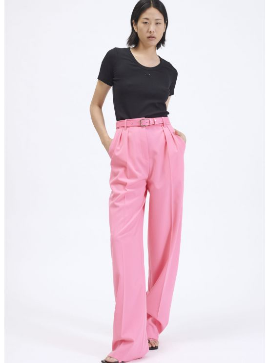 High-waist pleated crepe trousers