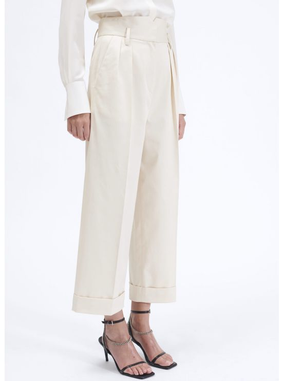 Large 7/8 cotton gabardine trousers